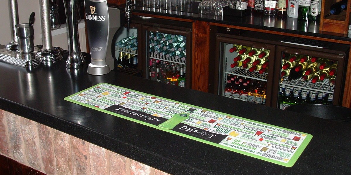 Counter-Mat - printed bar runner advertising Refreshingly Different drinks