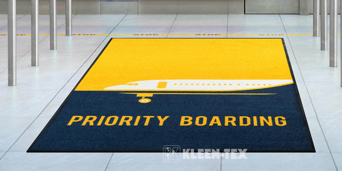 Logo mat in airport hall