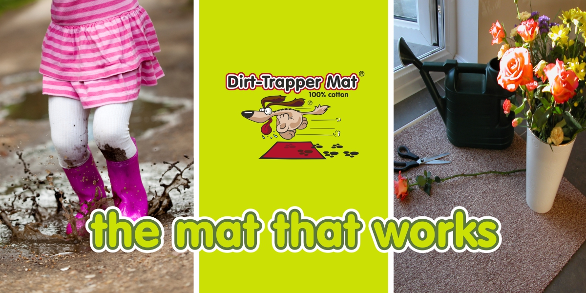 Dirt-Trapper Mats with young girl splashing in muddy puddle